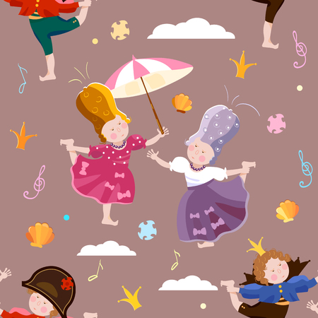Prince and princess seamless pattern childrens theater scrapbooking background