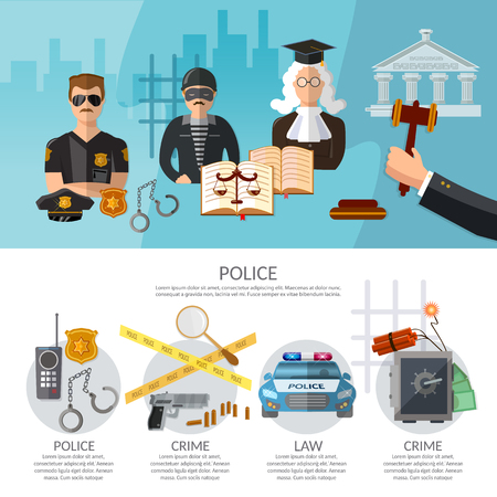 Crime and punishment justice system banners criminal trial judge in court justice system template vector illustration
