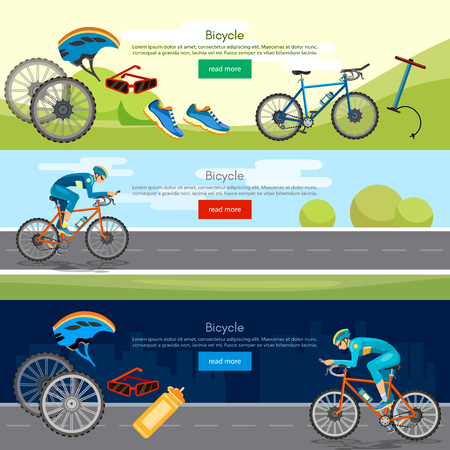 bicycle pump: Bicycle riding banner professional cycling active lifestyle athlete rides a bicycle vector