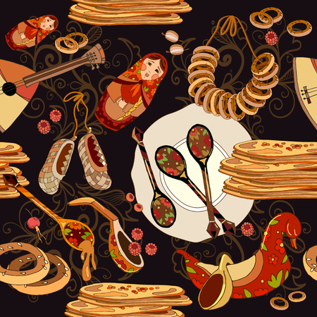 Russian cuisine seamless pattern. Russian food. Hand drawn Russia national traditional food background Illustration