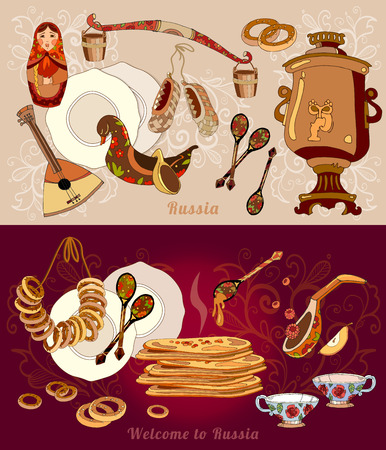 Welcome to Russia banner. Traditional Russian cuisine and culture. Balabayka, samovar, matryoshka, pancakes, Russian elements hand drawn vector Illustration