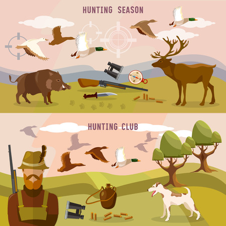 duck hunting: Hunting banners, professional hunting club, duck hunting, binoculars, hunting season, vector illustration