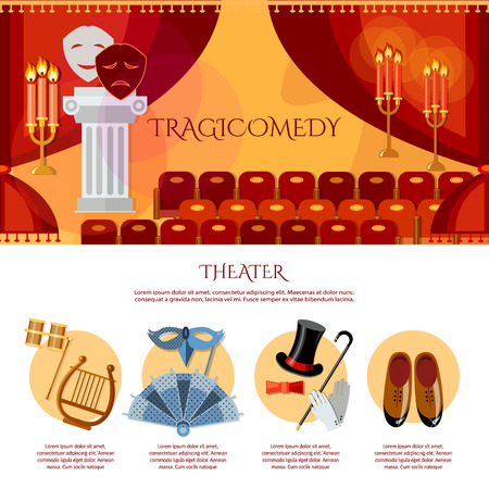 comedy and tragedy: Theater infographics comedy and tragedy masks theater stage curtain theater vector illustration