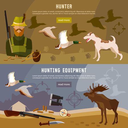 wildlife shooting: Hunting banners, hunter with rifle and dog in forest, duck hunting, ammunition: binoculars, hunting knife, vector illustration