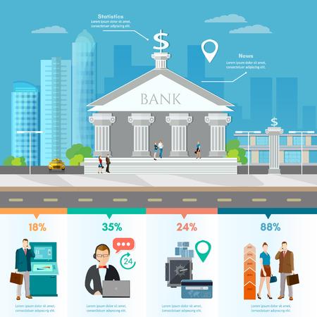 은행 내부에서 도시의 스카이 라인, 고객 및 직원 사람들과 은행 건물 일러스트
