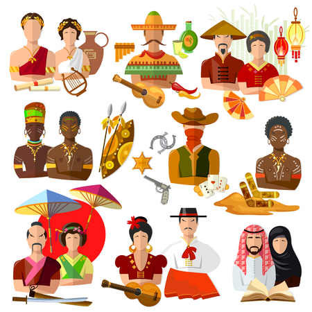 spainish: People of different nationalities, japanese, mexican, australian, american, spanish, chinese, arab, african, greek Illustration