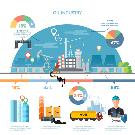 benzene: Oil industry infographics extraction and processing products transportation of oil oilman works vector Illustration