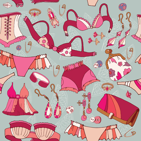 Woman underwear seamless pattern. Fashion accessories, cosmetics, jewelry, woman shopping background vector
