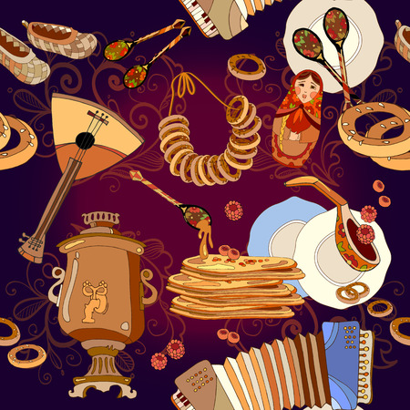 russian cuisine: Russian cuisine seamless pattern, pancakes, samovar, balalaika. Russian culture and traditions