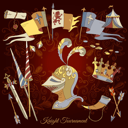 Knight Tournament medieval frame, medieval elements, vector vector