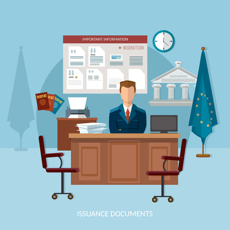 immigrant: Issuance of documents for immigrant vector illustration passport office documents for emigration