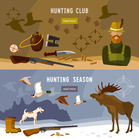 moose hunting: Hunting banners hunter with rifle and dog in forest hunting for moose ammunition hunting knife vector illustration