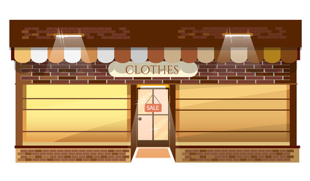 clothing shop: Facade of clothing shop building fashion boutique store vector illustration