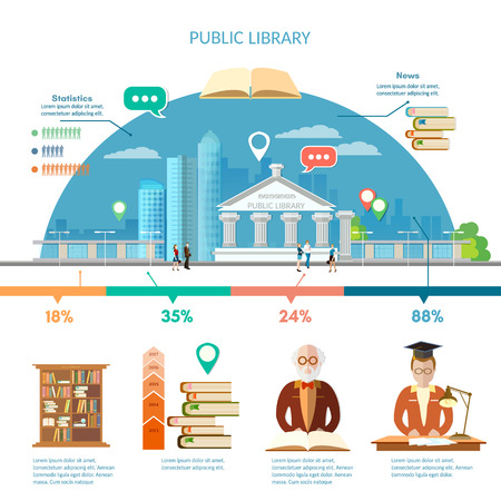 librarian: Reading books infographics library building students read books professor librarian  infographics vector illustration
