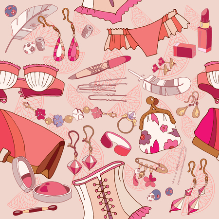 reticule: Woman fashion accessories, cosmetics, jewelry, shopping background vector Illustration