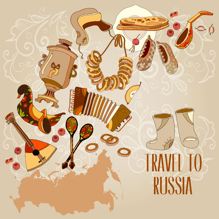 russian cuisine: Welcome to Russia. Traditional Russian cuisine and culture. Traveling design. Russia map vector