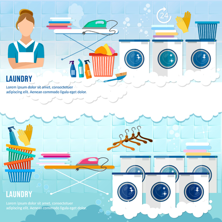 washing powder: Laundry service banner dry cleaning clothes banner. Laundry room with washing machine, ironing board, clothes rack, household chemistry cleaning, washing powder and basket