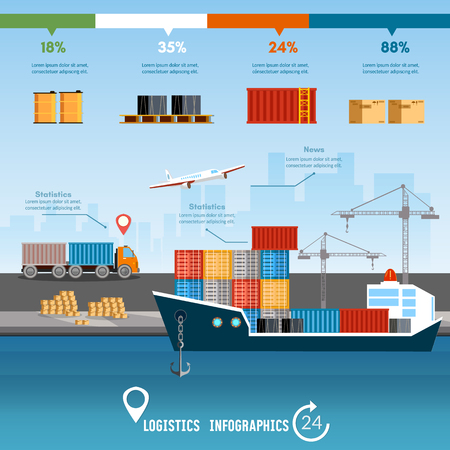 air port: Sea transportation logistic infographics. Global delivery concept logistics set of air cargo trucking rail transportation maritime shipping