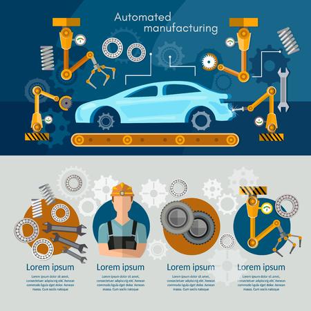 automotive industry: Car assembly line concept conveyor belt operator automotive industry vector illustration