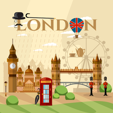 London City Skyline, London United Kingdom vector illustration