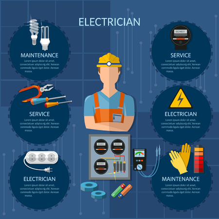 plug hat: Professional electrician infographics electricity tools installation and repair electrical equipment installation of electric meter electrical repairs vector illustration
