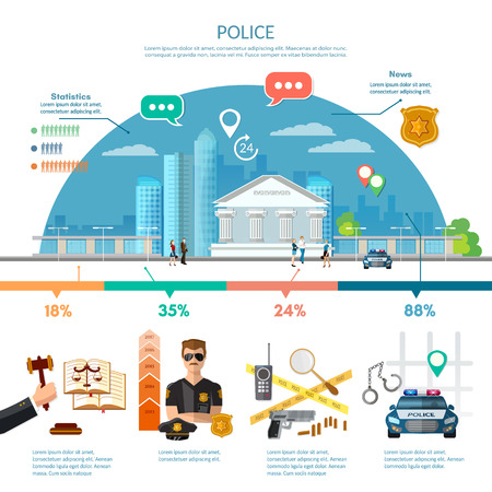 infografía del sistema de justicia, juzgado, el crimen y el castigo, la infografía Leyes establecen con la corte y elementos de sistema judical ilustración vectorial Vectores