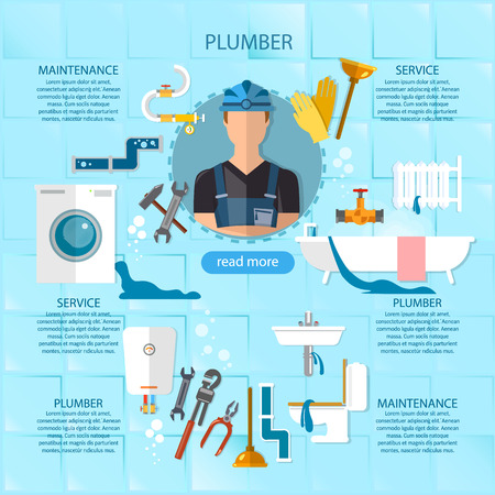 leaks: Professional plumber infographic plumbing service different tools and accessories, pipe repair, elimination of leaks. infographics call plumber Illustration