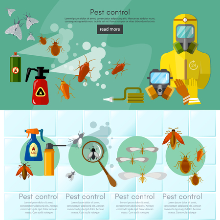 pest control equipment: Pest control services infographics banner detecting exterminating insects illustration