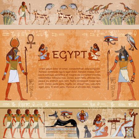 Starożytny Egipt. Hieroglificzne rzeźby na zewnętrznych ścianach starożytnej egipskiej świątyni. Ręcznie rysowane wektor. Murale starożytnego Egiptu. Grunge starożytnego Egiptu tło