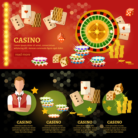 online roulette: Casino infographic, playing cards baccarat table play casino roulette vector illustration