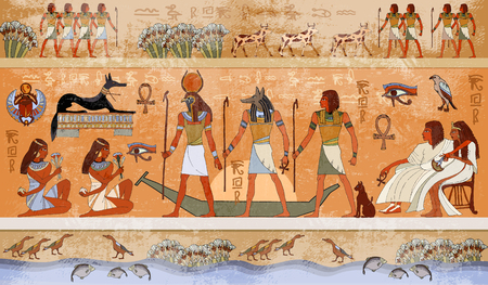 ancient civilization: Ancient Egypt scene, mythology. Egyptian gods and pharaohs. Hieroglyphic carvings on the exterior walls of an ancient temple. Egypt background. Murals ancient Egypt.