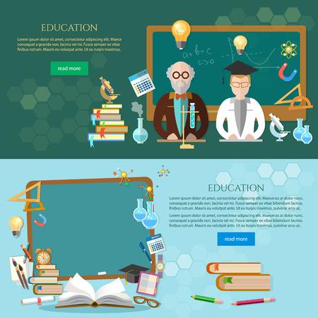 Education bannière, étudiant et professeur, tableau noir. Retour au modèle de l'école Vecteurs