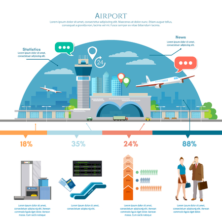 airlines: Airport infographic, air travel element passengers, aircraft, runway, terminal. Infographic airport with statistical data. International airport airlines presentation template vector illustration