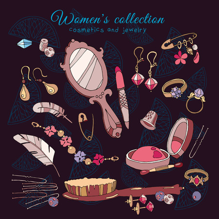 glamorous woman: Fashion accessories collection, cosmetics jewelery make up female glamorous accessories woman shopping hand drawn vector