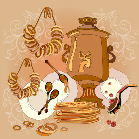 country kitchen: Russian cuisine, samovar, tea, pancakes, traditions and culture of Russia hand drawn vector. Welcome to Russia.