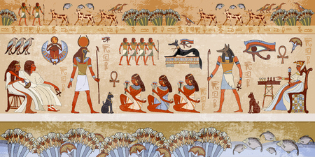 hieroglyphic: Ancient egypt scene. Hieroglyphic carvings on the exterior walls of an ancient egyptian temple. Grunge ancient Egypt background. Hand drawn Egyptian gods and pharaohs. Murals ancient Egypt. Illustration
