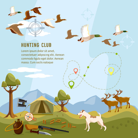 Hunting background, flying duck, deers in the mountain, shotgun hunter, compass, map