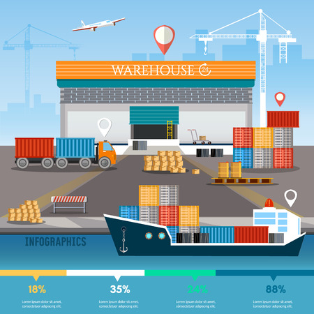 Warehouse infographics, industrial sea port with containers, cargo ships, logistic and delivery service Illustration