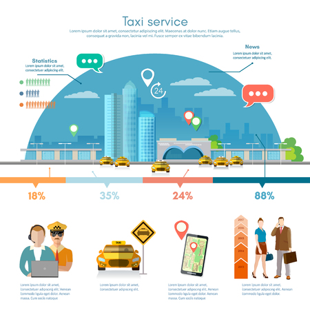 yellow cab: Taxi service infographics on a background the big city, mobile app for booking service. Passengers, driver, taxi station, yellow cab, flat vector illustration for business