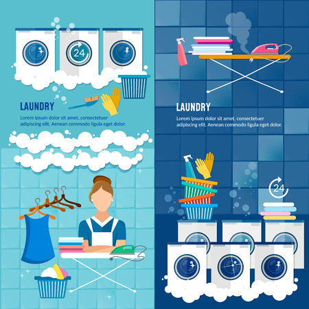 dirty clothes: Laundry room with washing machine, ironing board, clothes rack, household chemistry cleaning, washing powder and basket. Laundry service banner dry cleaning clothes banner.