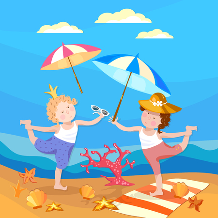 children crab: Happy children, girl and boy playing on the beach. Summer holiday vector illustration