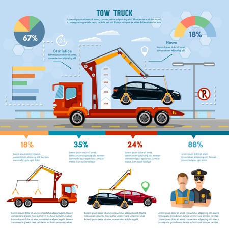 Car service infographic, auto towing, tow truck for transportation faults and emergency cars vector