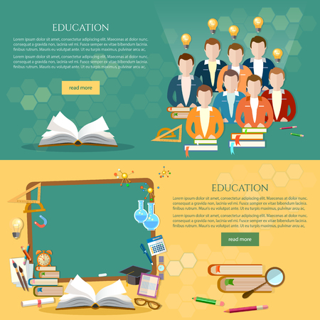Education banner, students learn, open book knowledge, blackboard. Back to school template, group of students