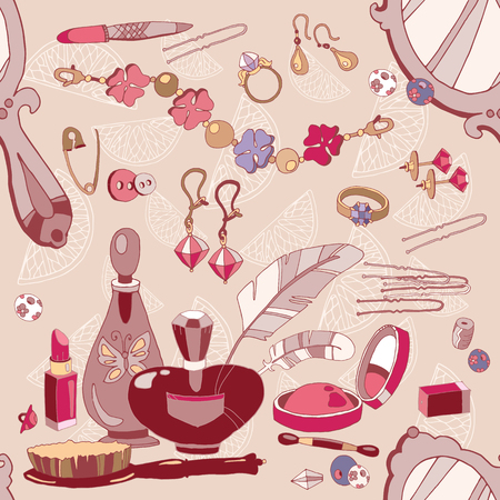 fashion accessories: Woman fashion accessories seamless pattern, cosmetics, perfumes, jewelery vector pattern Illustration