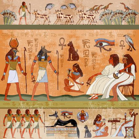 Oude Egypte scene. Muurschilderingen oude Egypte. Hiëroglyfische gravures op de buitenmuren van een oude Egyptische tempel. Grunge oude Egypte achtergrond. Hand getrokken Egyptische goden en farao's.