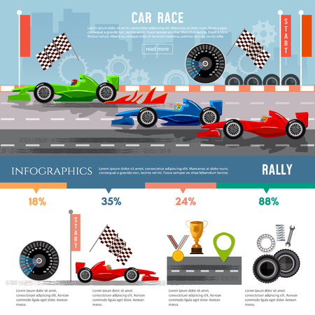 formula 1: Car racing infographic, auto sport championship symbols and charts, motor racing cars on a start line