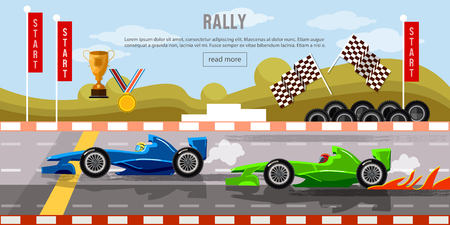 drift: Car racing banner, motor racing cars on a start line, racing bolides, formula car speeding, racing in cars, tyre drift on race circuit finish line  vector
