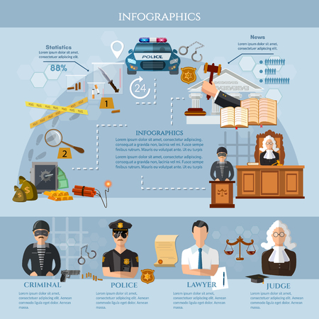 System of justice, crime and punishment info graphics. Law infographics set with court and judical system elements vector illustration
