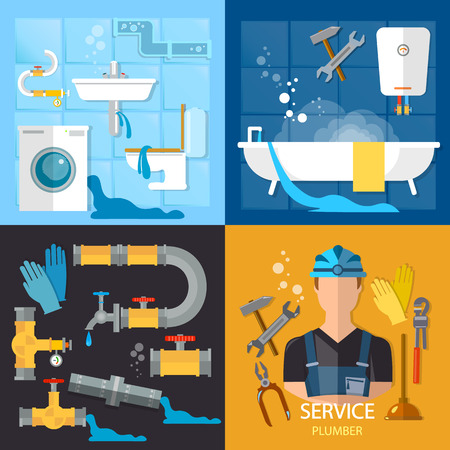 leaks: Plumbing service set. Professional plumber, different tools and accessories, pipe repair, elimination of leaks.
