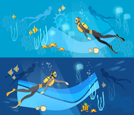 Diving banner, underwater people, diver silhouettes against sunburst in the ocean. Professional diving vector